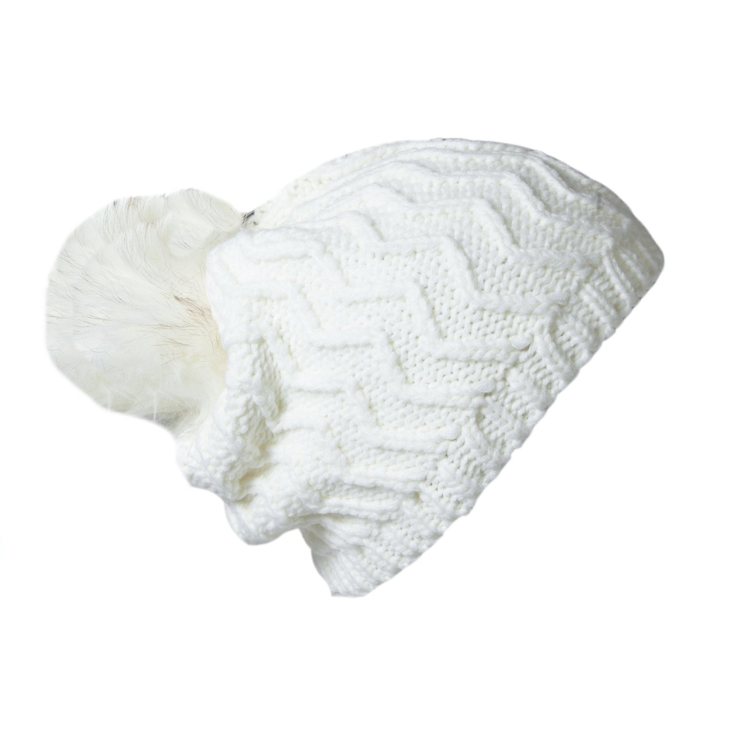 Amazon.com: women's ivory chunky zig zag knit winter beanie hat with faux fur pom: clothing