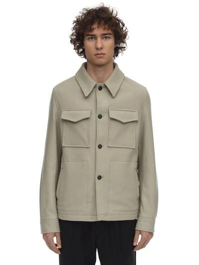 AMI ALEXANDRE MATTIUSSI Wool Felted Shirt Jacket Beige
