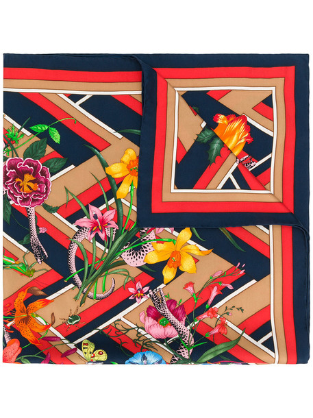 gucci snake women scarf print silk chevron