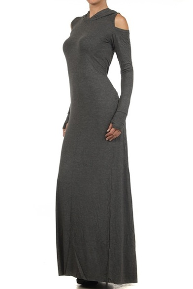 Solid knit, hooded, sweater maxi dress with cold shoulder cutouts