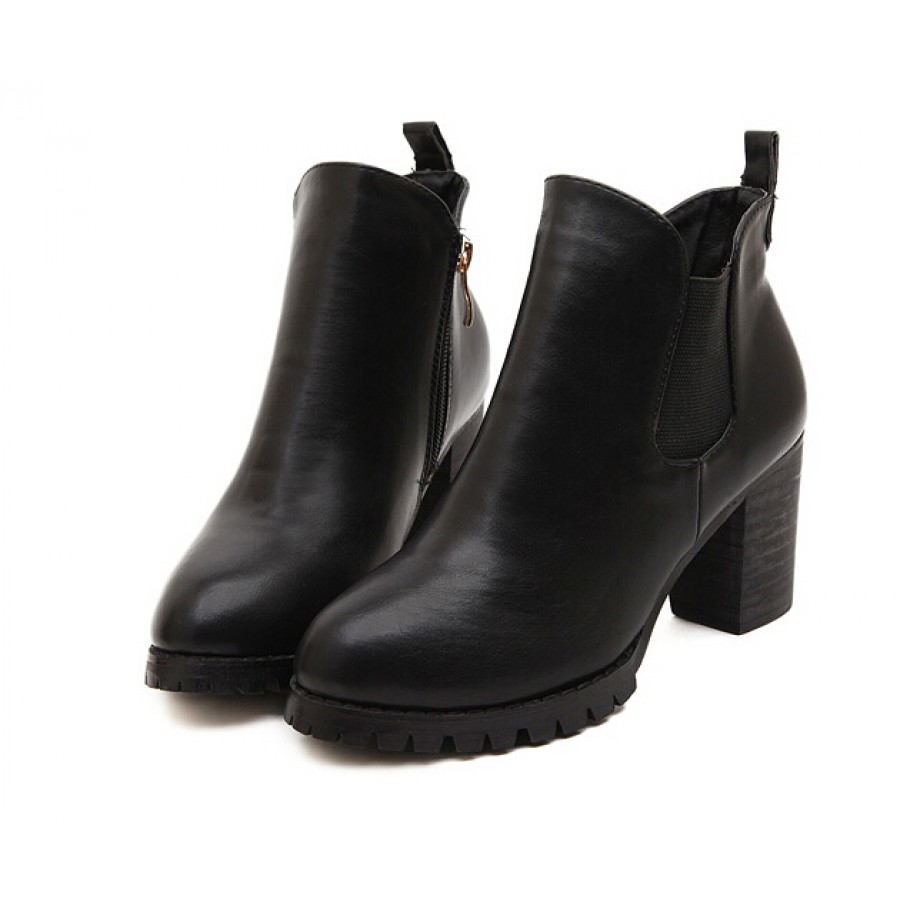 Chunky Heel Zip Chelsea Ankle Boots