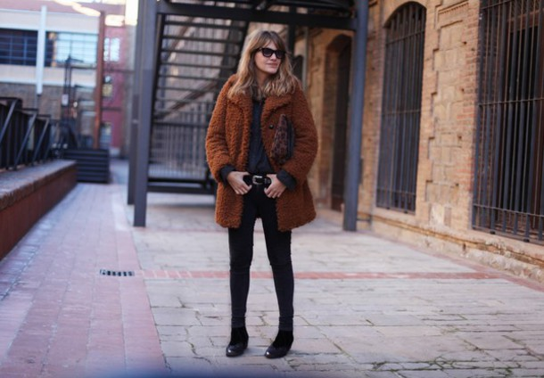 my daily style blogger fuzzy coat rust