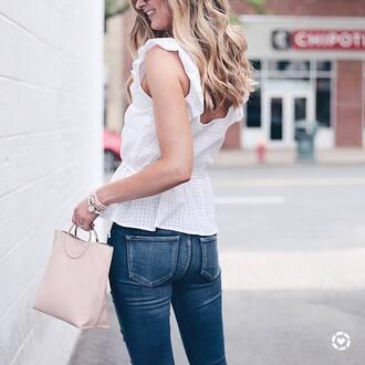 jewels tumblr bracelets accessories accessory top white top sleeveless sleeveless top denim jeans blue jeans bag pink bag