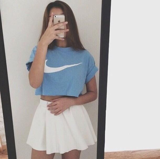 20f6f2149a tank top whole outfit.. blue shirt blue white white t-shirt white crop