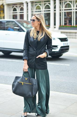 camila carril blogger pants jacket shoes sunglasses bag