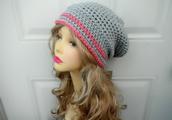 hat,crochet beanie hat,slouchy hat,pink/grey hat,slouch hat