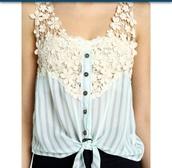 blouse,blue shirt,flowers,button up,striped shirt,lace,t-shirt,top,crochet,cropped