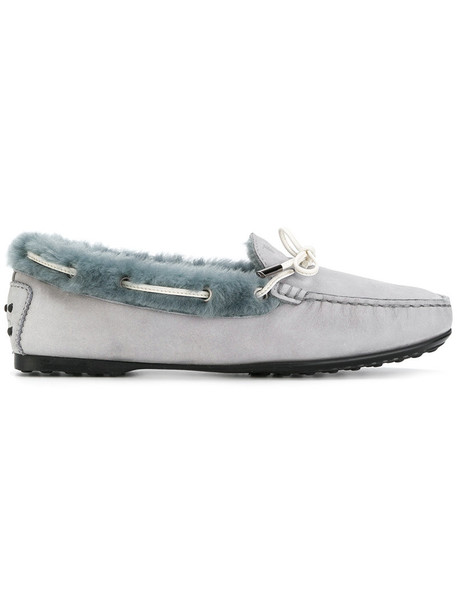 TOD'S fur women loafers suede grey shoes