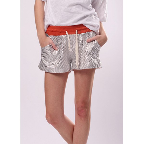 Wholesale Drawstring Sequins Embellished Loose-Fitting Cotton Shorts For Women (RED,ONE SIZE), Shorts - Rosewholesale.com