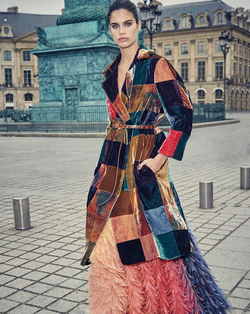 coat velvet velvet coat editorial sara sampaio feathers feather dress