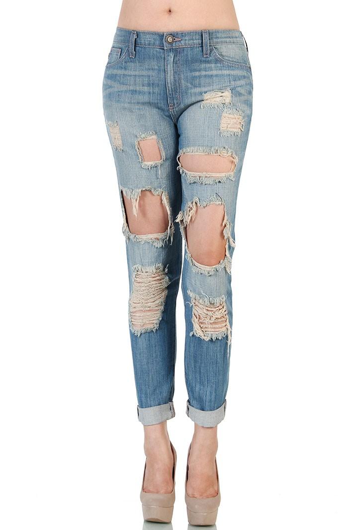 Destroyed Boyfriend Jeans - Blue