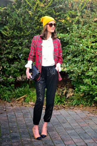 blogger book of leisure jacket pants tartan blouse beanie sequins