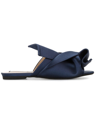 bow women sandals leather blue silk satin shoes