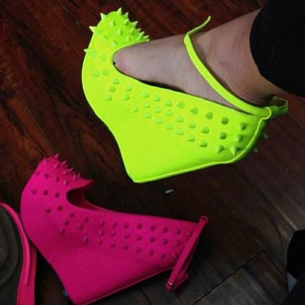 shoes wedges neonheels anclestrapheels purple pink blue suede wedges strap wedges ankle strap heels ankle strap wedges neon yellow heels spiked shoes neon