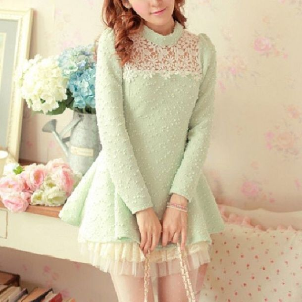 Dress: vintage, sea foam, babydoll, baby doll, ulzzang, green ...