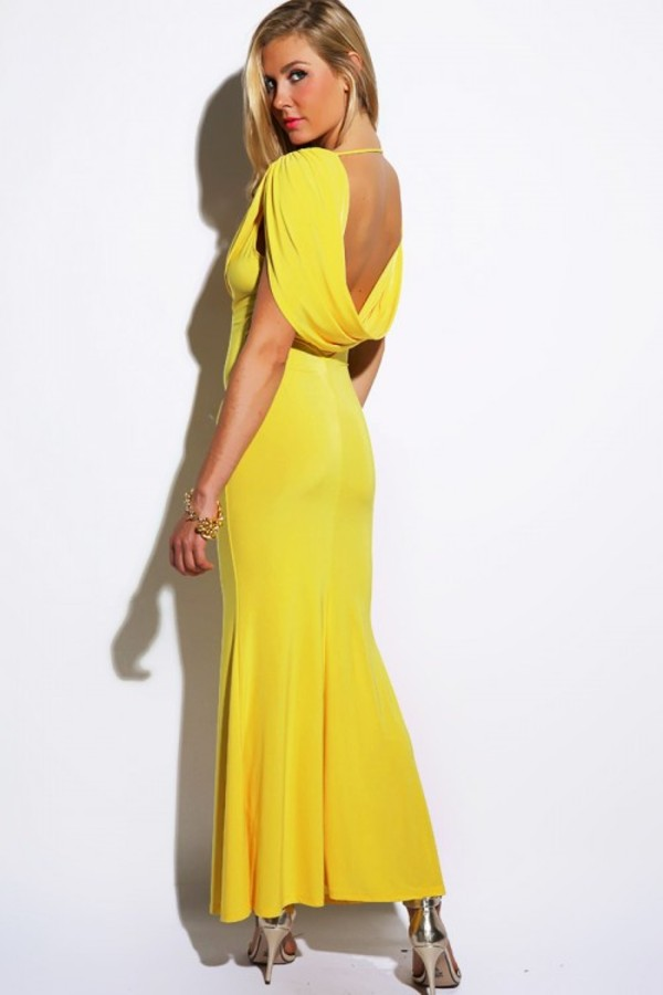 dress long dress draped dress yellow dress