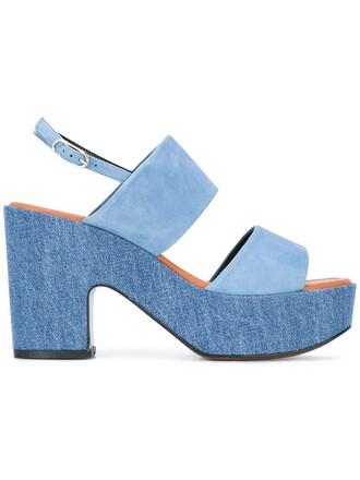 women sandals platform sandals leather cotton blue suede shoes