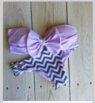 swimwear chevron bikini lavender bow bandeau