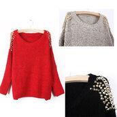 sweater,sweatshirt,studded,studded shoulders,grey sweater,fall sweater,fall outfits,fall 2013,fall trend,red,red sweater,red knit sweater,black,black sweater,grey,studs