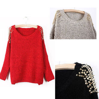 sweater sweatshirt studded studded shoulders grey sweater fall sweater fall outfits fall 2013 fall trend red red sweater red knit sweater black black sweater grey studs