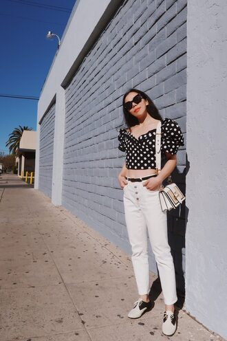 hallie daily blogger jeans top shoes belt bag sunglasses polka dots white pants shoulder bag