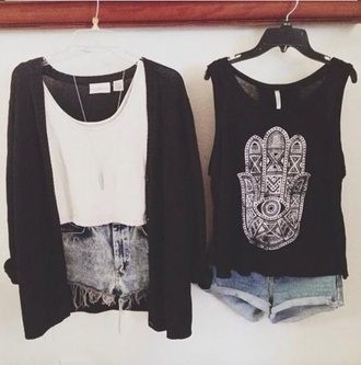 blouse black cardigan cutoff shorts crop tops aztec pastel hipster white tank top cutoff light denim frayed high waisted studded shorts summer denim shorts shirt shorts t-shirt tank top