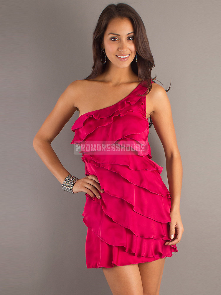Sheath Ruffles One Shoulder Short Length Chiffon Prom Dress - Promdresshouse.com