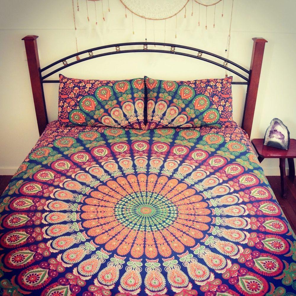 Blue Elephant Mandala Duvet Cover Throw Cotton Quilt Cover