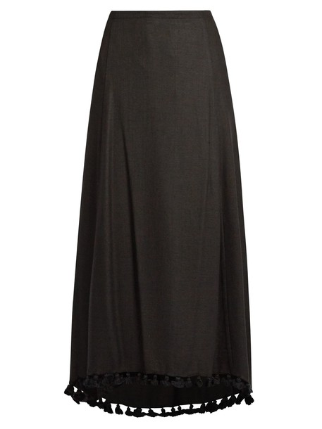 skirt tassel embellished silk black