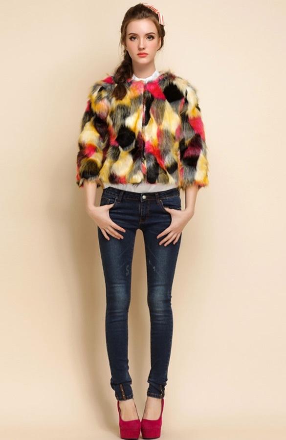 Quarter sleeve colorful faux fur coat