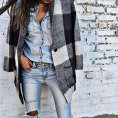 coat,denim on denim,denim,ripped,denim top,fall outfits,spring,fashion,chic,plaid,jeans,ripped jeans,distressed denim,distressed jean,chambray,denim blouse,spring outfits,streetstyle,casual,casual chic,flannel,flannel coat,flannel jacket,plaid flannels,black and white,grey,lightwash jeans,ripped light wash,lightwash denim