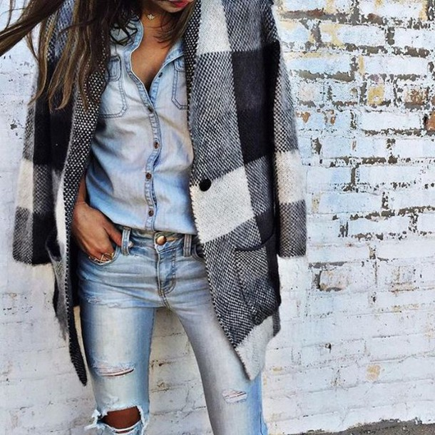 3f3a5332c2 coat denim on denim denim ripped ripped denim top fall outfits spring fashion  chic plaid jeans