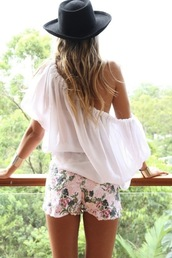 blouse,off the shoulder,flowered shorts,shorts,sheer,shirt,hat,off the shoulder top,gold cuffs