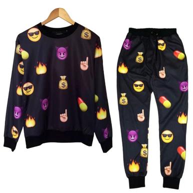 Unisex emoji sweatpants joggers and sweater black