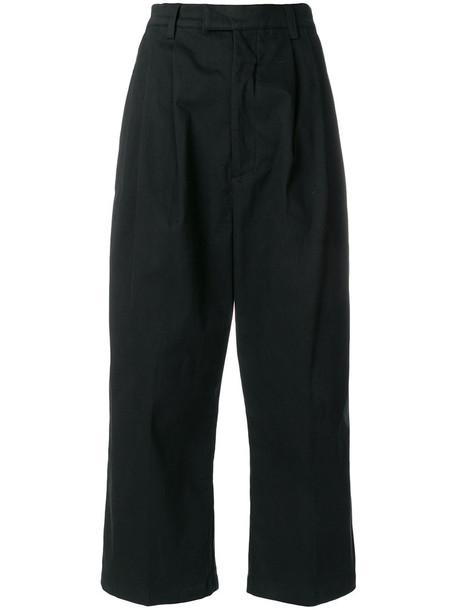 P.A.M. pleated cropped women spandex cotton black pants