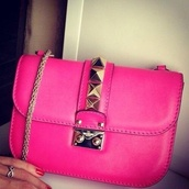 bag,pink,studs,mini bag,gold