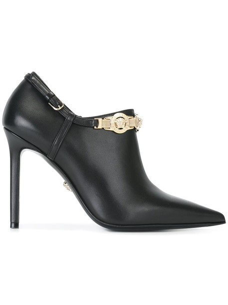 VERSACE metal women booties leather black shoes