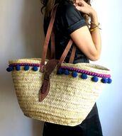 bag,pompom basket bag,basket bag,basket tote,pom poms,blue pompoms,beach bag,pompom bag