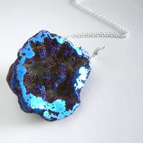Large Geode Necklace Titanium Druzy Pendant Raw by cindylouwho2