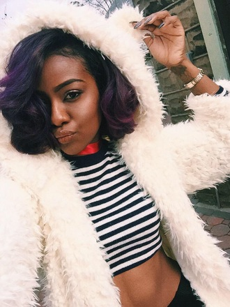 jacket white faux fur justine skye purple curly hair fur coat fur dope black girls killin it justineskye stripes top black pants cute coat