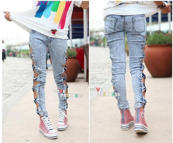 Vintage woman side bow cutout ripped denim sexy jeans jeggings punk trousers