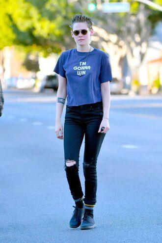 top t-shirt kristen stewart streetstyle ripped jeans