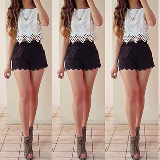 shirt lace white lace lace shirt black shorts shorts scallop scalloped pretty heels cute shoes