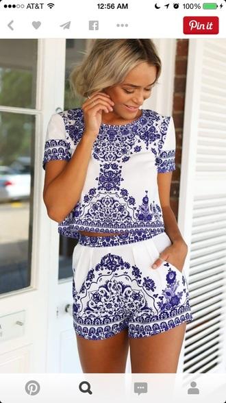 top romper shorts blue blouse pinterest jumpsuit
