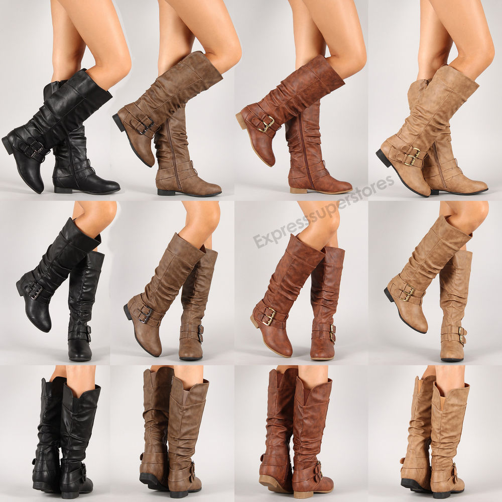 New Riding Boots Knee High Fashion Faux Leather Boot Stylish Shoes ...