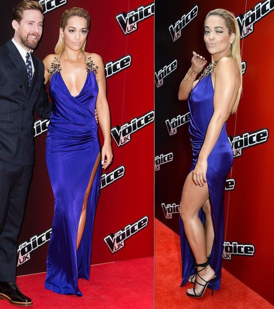 rita ora sandals gown prom dress blue dress