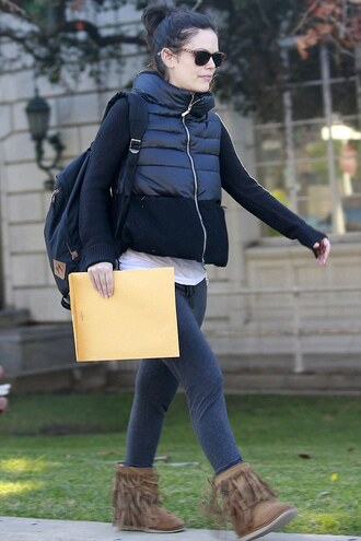 rachel bilson leggings fringe shoes down jacket