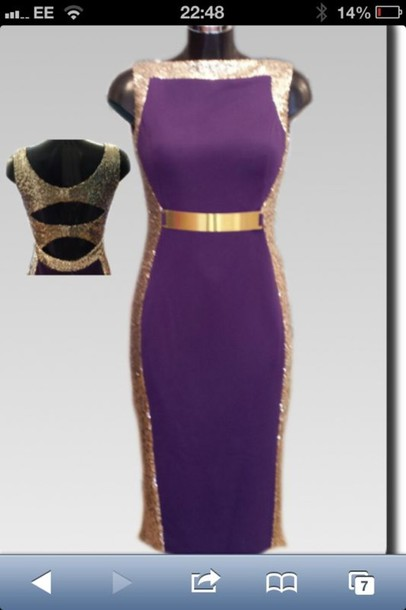 dress purple gold pencil dress
