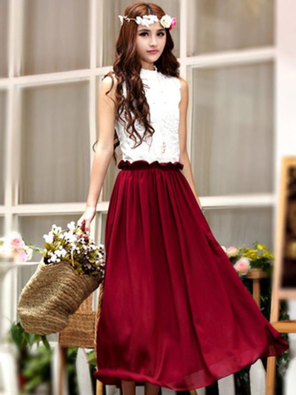 dress chiffon dress red dress princess sleeveless lace dress