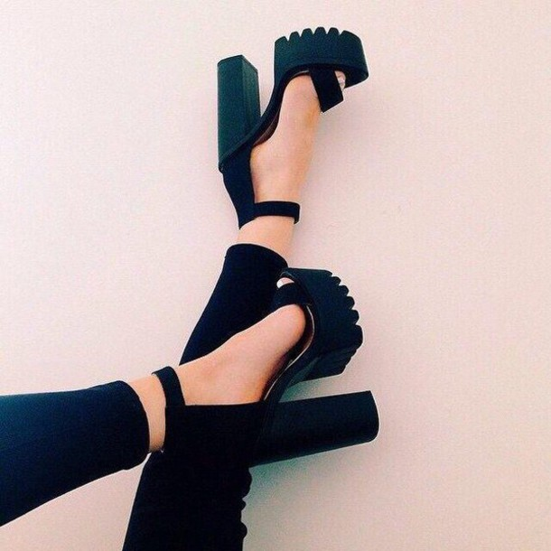 Shoes: black, heels, tumblr - Wheretoget